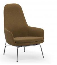 Fotel tapicerowany ERA LOUNGE CHAIR Normann Copenhagen - wysoki, chromowane nogi, różne kolory siedziska