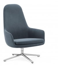 Fotel tapicerowany ERA LOUNGE CHAIR Normann Copenhagen - wysoki, na obrotowej aluminiowej podstawie, różne kolory siedziska