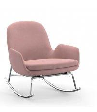 Fotel bujany tapicerowany ERA ROCKING CHAIR Normann Copenhagen - niski, na chromowanej podstawie, różne kolory siedziska