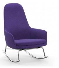 Fotel bujany tapicerowany ERA ROCKING CHAIR Normann Copenhagen - wysoki, na chromowanej podstawie, różne kolory siedziska
