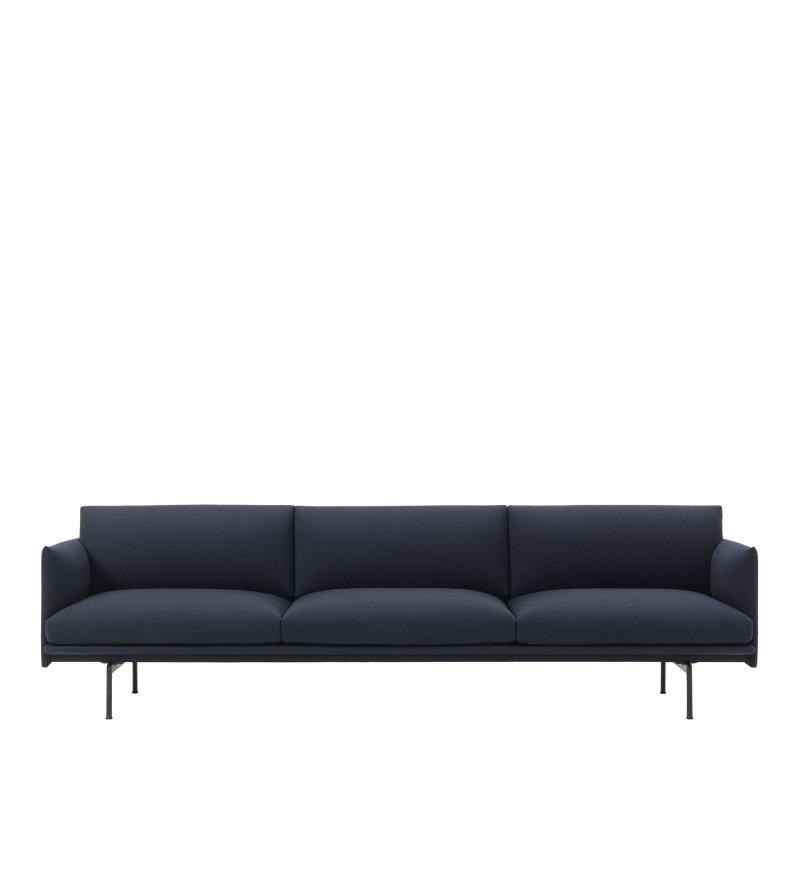 Sofa 3,5-osobowa OUTLINE MUUTO - czarna podstawa, różne kolory