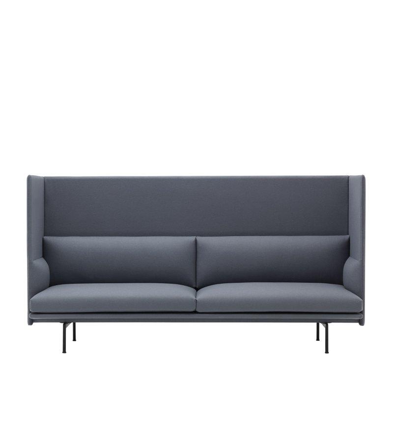 Sofa 3-osobowa OUTLINE HIGHBACK MUUTO - czarna podstawa, tkanina Remix