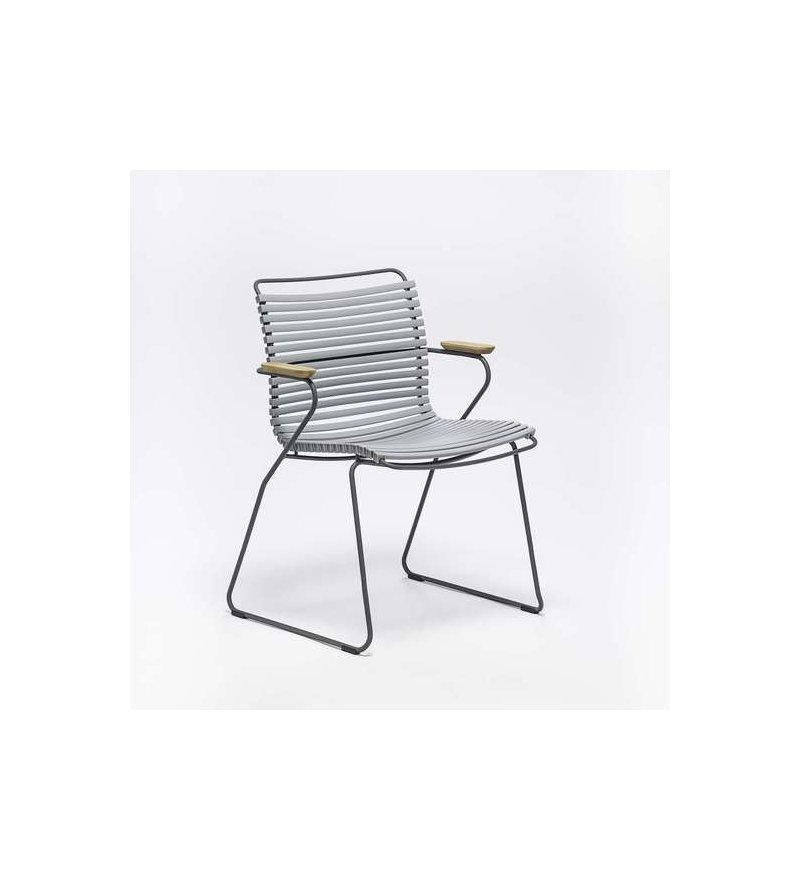 OUTLET Krzesło ogrodowe CLICK Dining Chair z podłokietnikami HOUE - szare, na zewnątrz