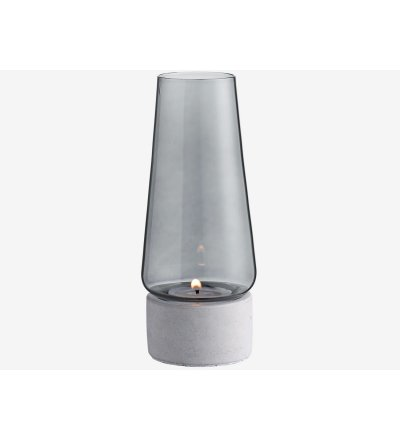Świecznik Candela Bolia - betonowa podstawa, przydymione szkło