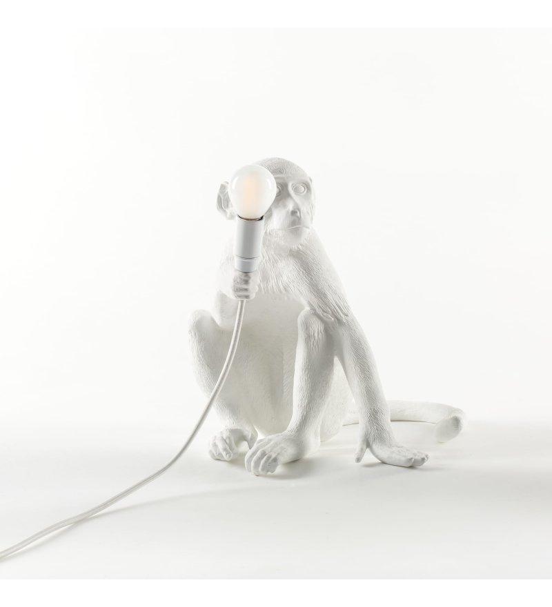 Lampa Monkey Seletti - biała, wersja siedząca, do wnętrza