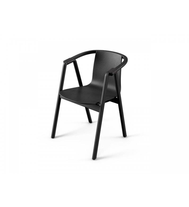 Krzesło SARNA Nurt - antracytowe, długie podłokietniki, skóra antracytowa