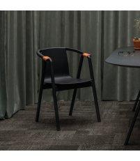 Krzesło SARNA Nurt - antracytowe, długie podłokietniki, skóra naturalna