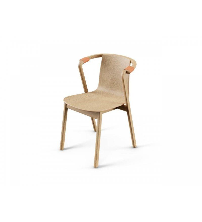 Krzesło SARNA Nurt - dąb lakierowany, krótkie podłokietniki, skóra naturalna