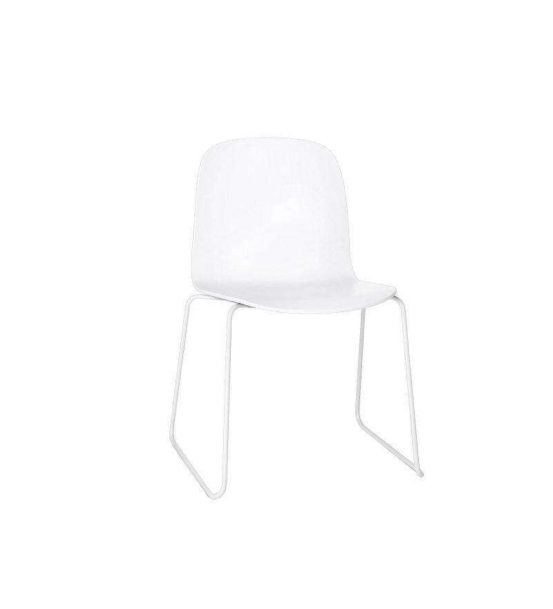 Krzesło drewniane na stalowych nogach VISU SLED BASE CHAIR Muuto - różne kolory