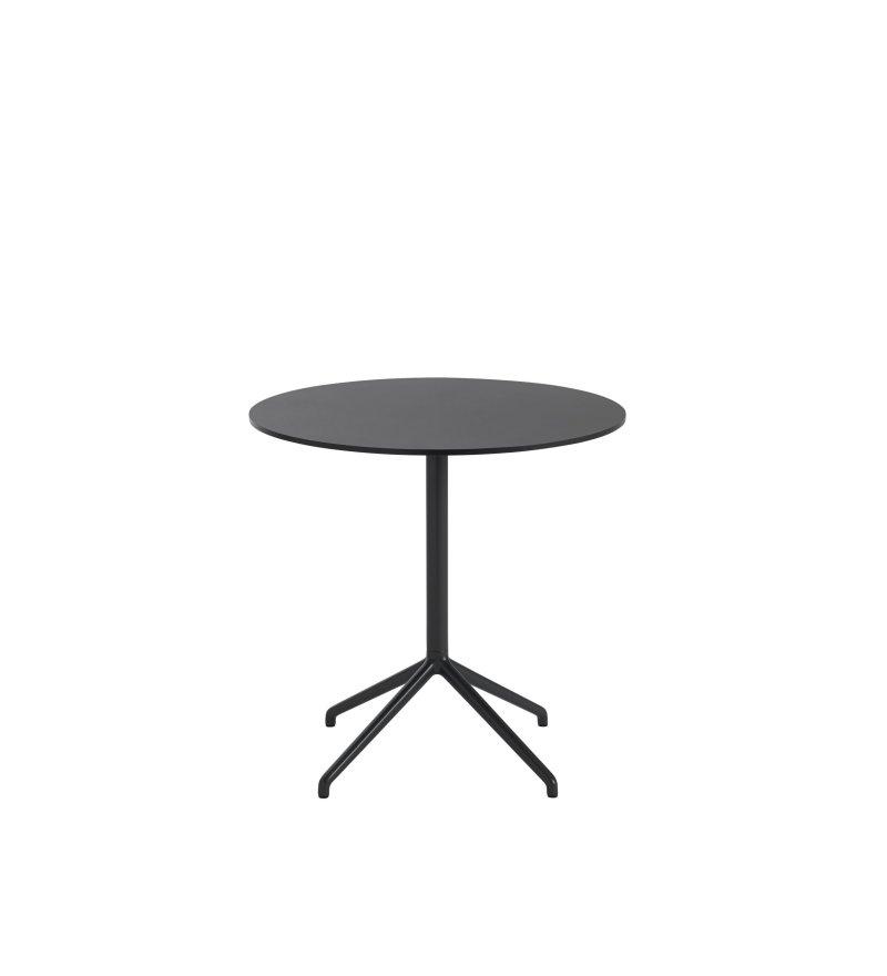 Stolik kawowy Still Muuto - średnica 75 cm, wysokość 73 cm, czarny blat/czarna podstawa