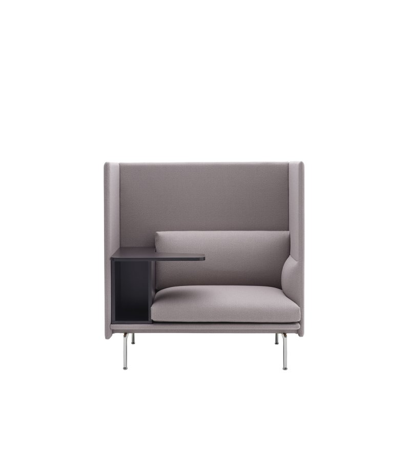 Sofa 1-osobowa OUTLINE HIGHBACK WORK MUUTO - LEFT, aluminiowa podstawa, różne kolory