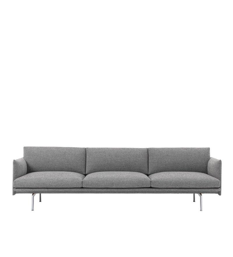Sofa 3,5-osobowa OUTLINE MUUTO - aluminiowa podstawa, różne kolory
