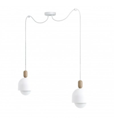 Lampa wisząca Loft Ovoi 2 biała z kablem w oplocie - różne kolory