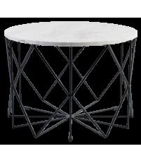 Stolik kawowy Vitro Bolia - marmurowy, Ø60 cm, biały/czarna rama