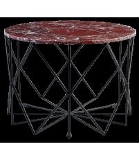 Stolik kawowy Vitro Bolia - marmurowy, Ø60 cm, czerwony/czarna rama