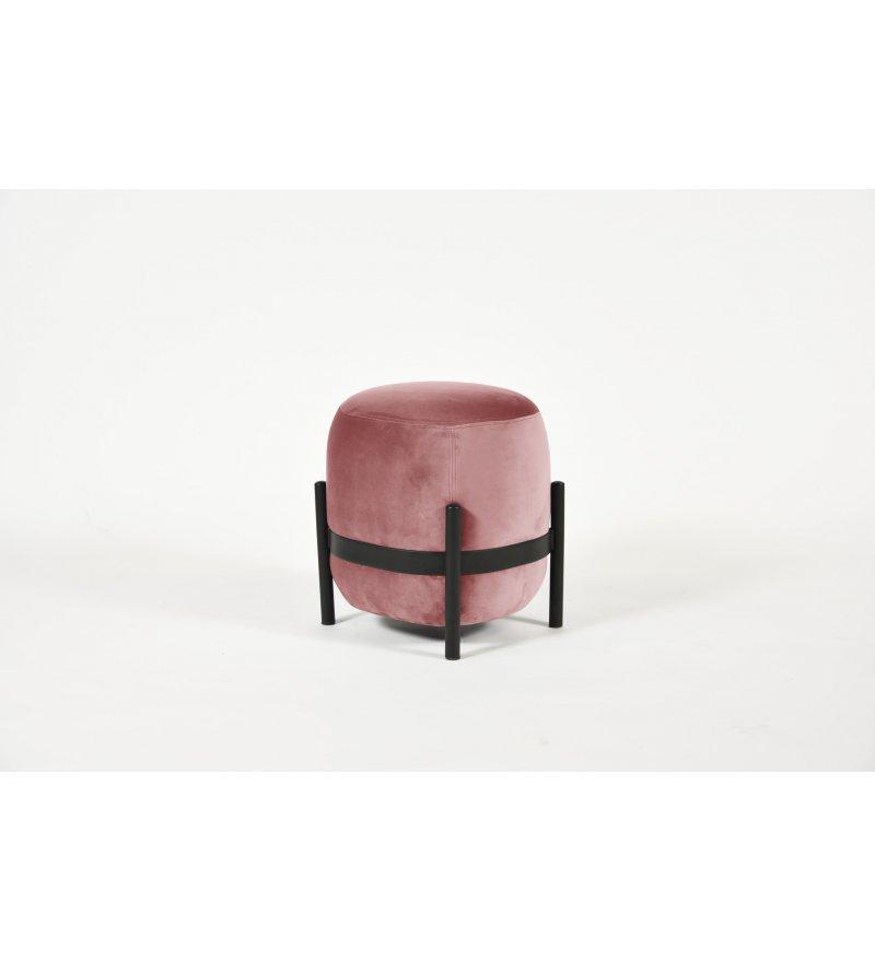 Puf Vega ENOstudio - różowy / czarne nóżki