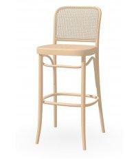 Krzesło barowe gładkie z oparciem rattanowym 811 TON - buk