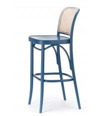 Krzesło barowe gładkie z oparciem rattanowym 811 TON - buk, kolory pigmentowe