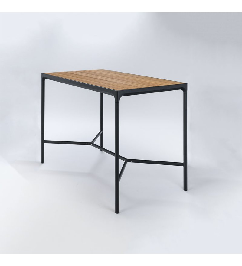 Stół barowy FOUR HOUE - 160x90cm, bambusowy, czarna podstawa, na zewnątrz