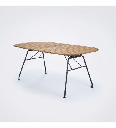 Stół jadalniany ogrodowy BEAM HOUE - 180x95cm, bambusowy, czarna podstawa, na zewnątrz