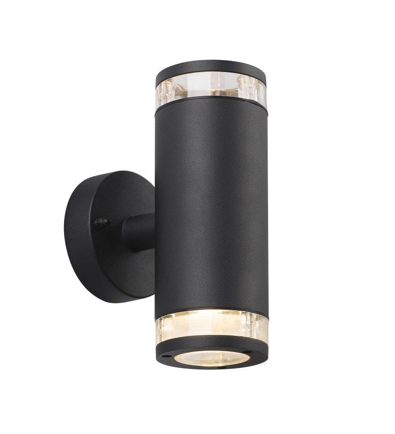 Kinkiet Birk Nordlux - czarny, z podwójnym światłem, na zewnątrz