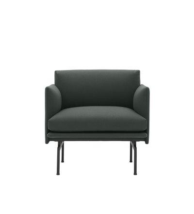 Fotel tapicerowany Studio OUTLINE CHAIR MUUTO - czarna podstawa, wysokość siedzenia 45cm, różne kolory