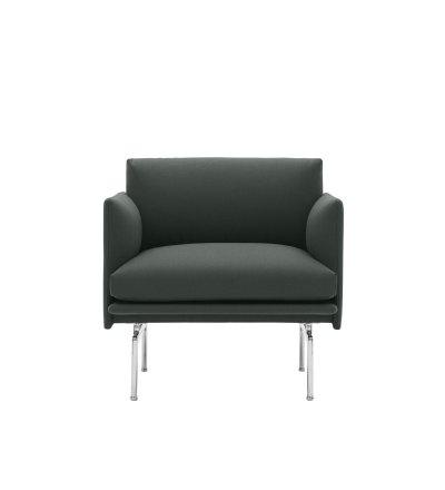 Fotel tapicerowany Studio OUTLINE CHAIR MUUTO - aluminiowa podstawa, wysokość siedzenia 45cm, różne kolory
