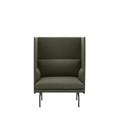 Sofa 1-osobowa OUTLINE HIGHBACK MUUTO - czarna podstawa, wysokość siedzenia 45cm, różne kolory