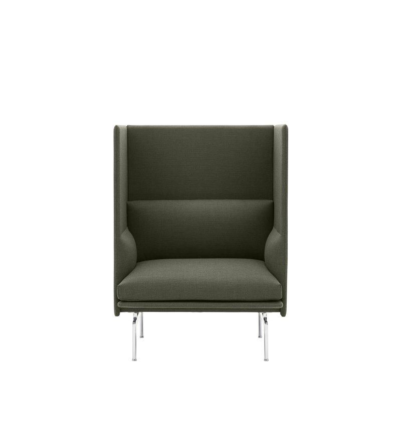 Sofa 1-osobowa OUTLINE HIGHBACK MUUTO - aluminiowa podstawa, wysokość siedzenia 45cm, różne kolory