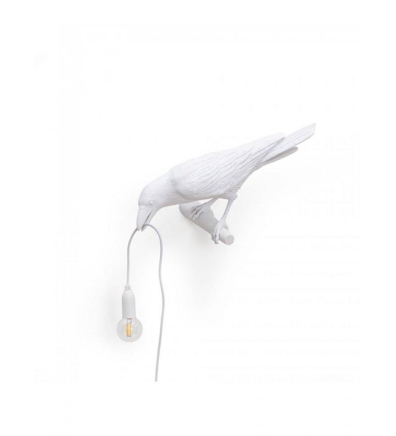 Kinkiet Bird Seletti - biały kruk patrzący w lewo, wersja na zewnątrz