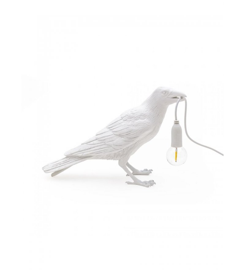 Lampa stołowa Bird Seletti - biały kruk czekający/stojący, wersja na zewnątrz