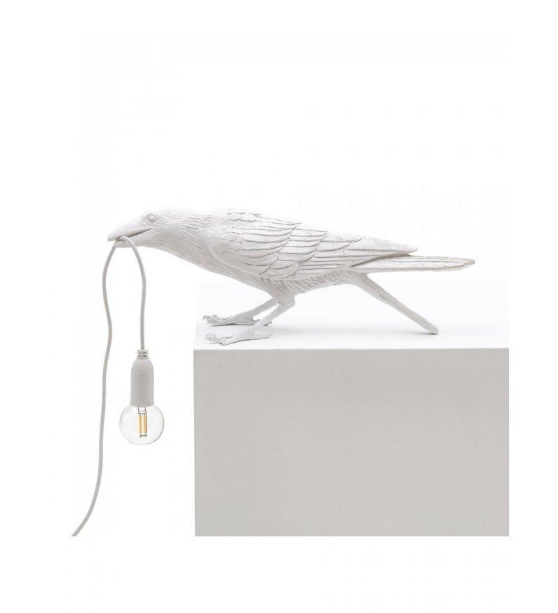 Lampa stołowa Bird Seletti - biały kruk bawiący się, wersja na zewnątrz