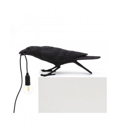 Lampa stołowa Bird Seletti - czarny kruk bawiący się, wersja na zewnątrz