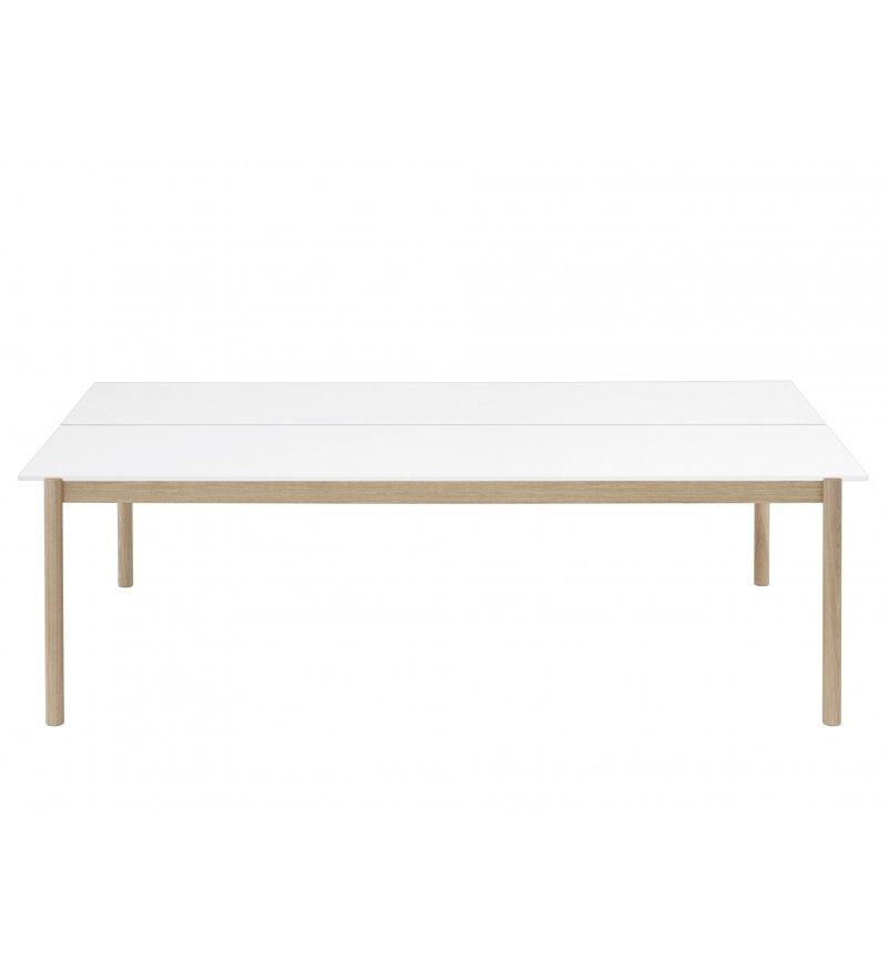 Stół biurowy Linear System Table Muuto - biały blat z laminatu/ABS, dębowa podstawa