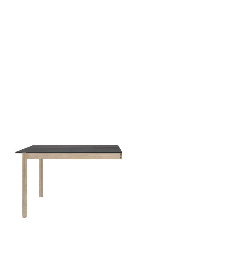 Moduł końcowy stołu biurowego Linear System End Module Muuto - 142x120cm, czarny blat z nanolaminatu/ABS, dębowa podstawa