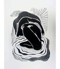 Linoryt 'Żywia' dudek brand. - edycja limitowana, 50 x 70 cm