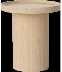 Stolik kawowy Plateau Bolia - Ø48 cm, bielony dąb lakierowany