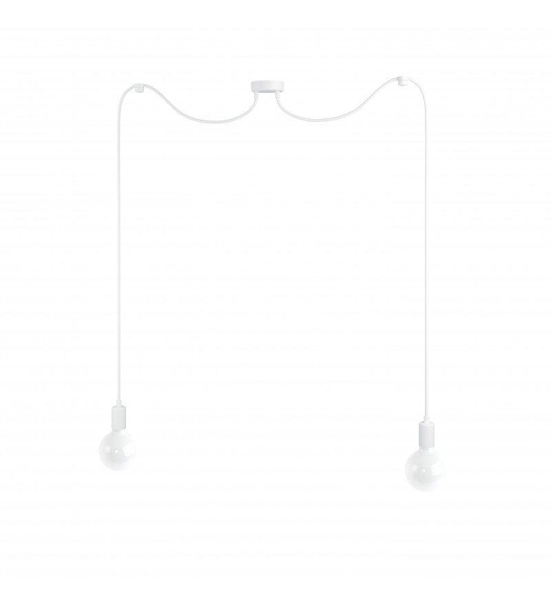 Lampa Pająk Loft Multi Metal Line X2 Kolorowe Kable - w białym oplocie
