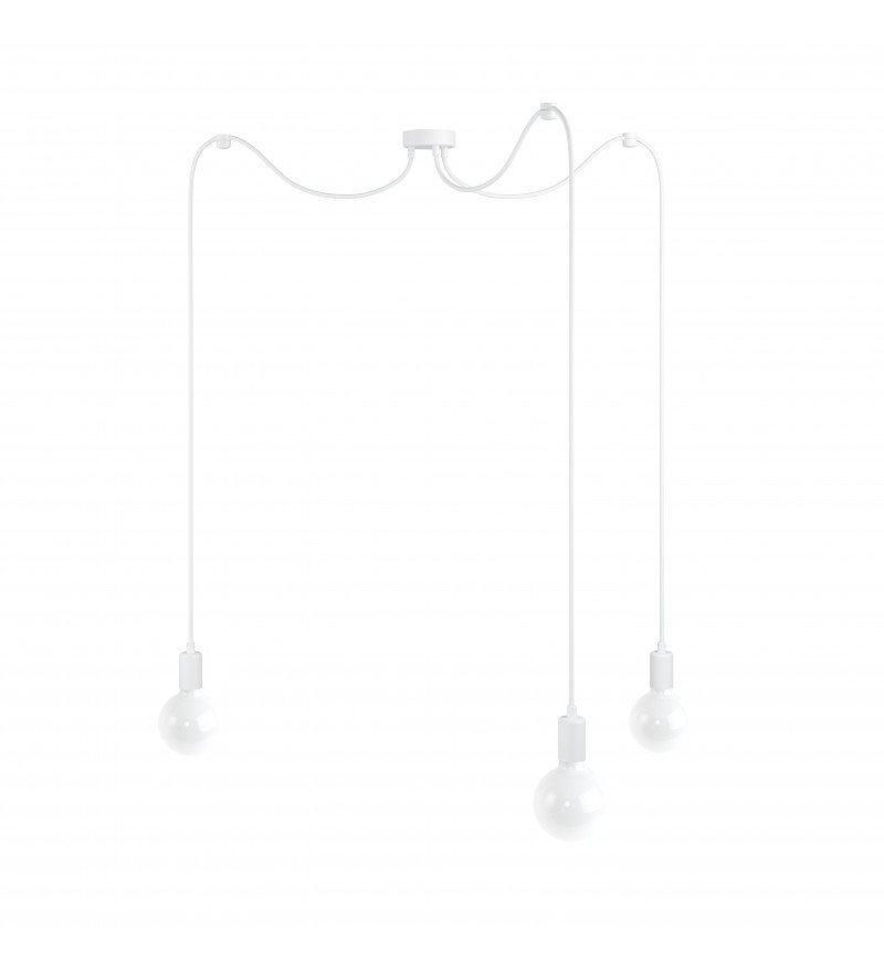 Lampa Pająk Loft Multi Metal Line X3 Kolorowe Kable - w białym oplocie