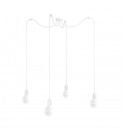 Lampa Pająk Loft Multi Metal Line X4 Kolorowe Kable - w białym oplocie