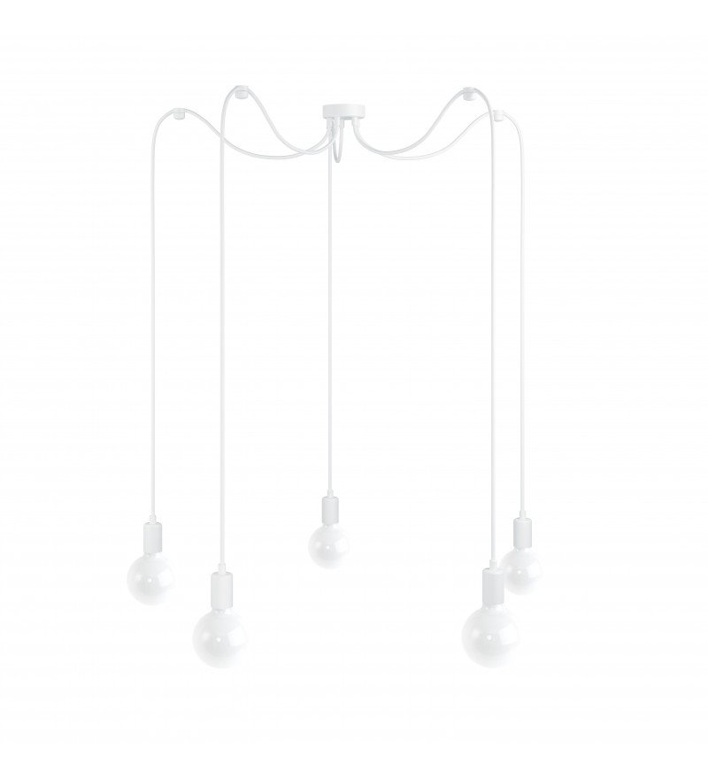 Lampa Pająk Loft Multi Metal Line X5 Kolorowe Kable - w białym oplocie