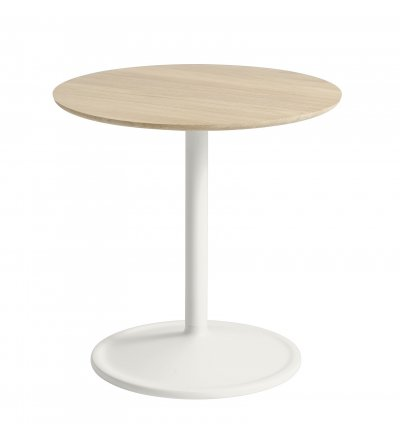 Stolik Soft Side Table - Ø48 cm H48 cm, lita dębina/ off-white