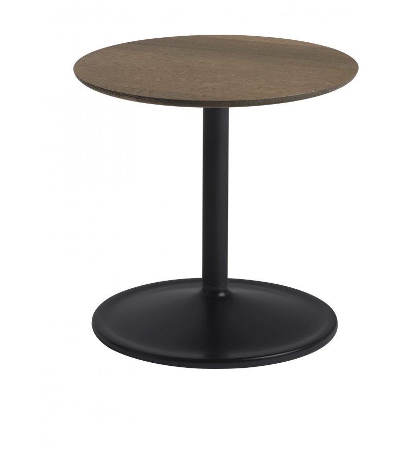 Stolik Soft Side Table - Ø41 cm H40 cm, przydymiona lita dębina/ czarna podstawa