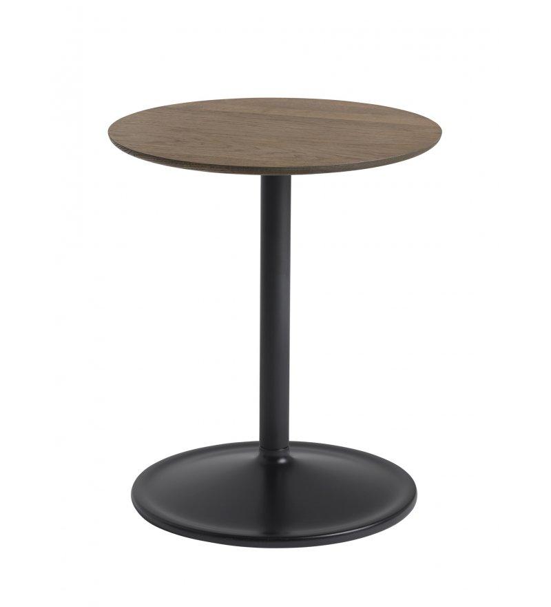 Stolik Soft Side Table - Ø41 cm H48 cm, przydymiona lita dębina/ czarna podstawa