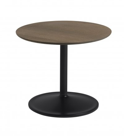Stolik Soft Side Table - Ø48 cm H40 cm, przydymiona lita dębina/ czarna podstawa