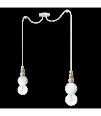 Lampa Loft Bala 2 Kolorowe Kable - biała strukturalna, kabel w oplocie biała perła