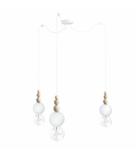 Lampa Loft Bala 3 Kolorowe Kable - biała strukturalna, kabel w oplocie biała perła