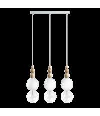 Lampa Loft Bala 3L Kolorowe Kable - biała strukturalna, kabel w oplocie biała perła