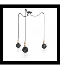 Lampa Loft Bala 3 Kolorowe Kable - czarna strukturalna, kabel w oplocie węgiel kamienny