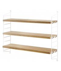 Regał String® Pocket String Furniture- dąb/ biały